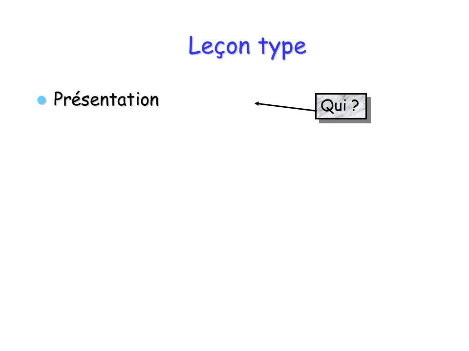 Leçon type Présentation Présentation Qui ?