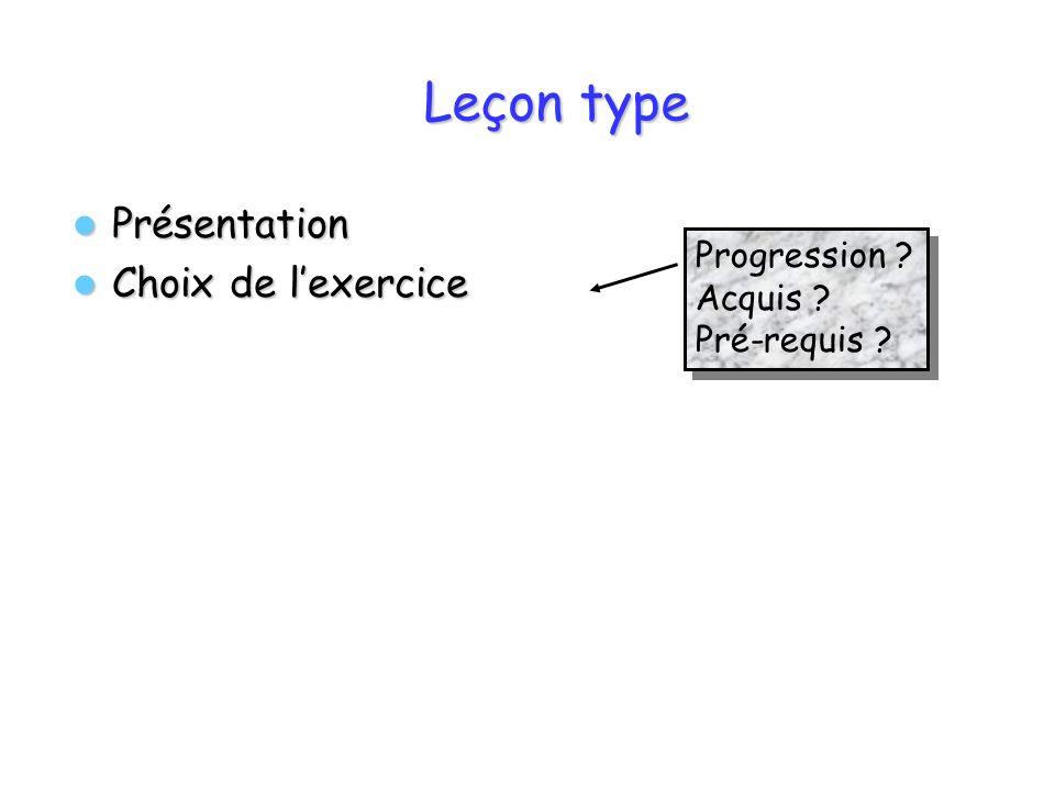 Leçon type Présentation Présentation Choix de lexercice Choix de lexercice Progression ? Acquis ? Pré-requis ? Progression ? Acquis ? Pré-requis ?