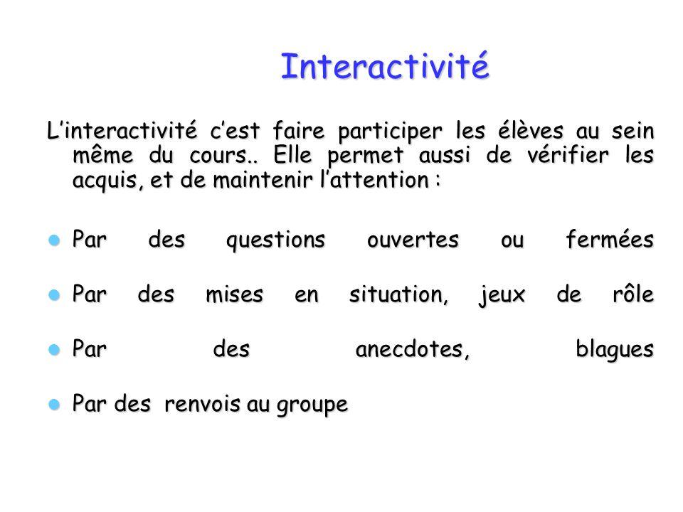 Interactivité Linteractivité cest faire participer les élèves au sein même du cours.. Elle permet aussi de vérifier les acquis, et de maintenir latten