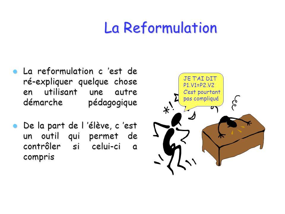 La Reformulation La reformulation c est de ré-expliquer quelque chose en utilisant une autre démarche pédagogique La reformulation c est de ré-expliqu