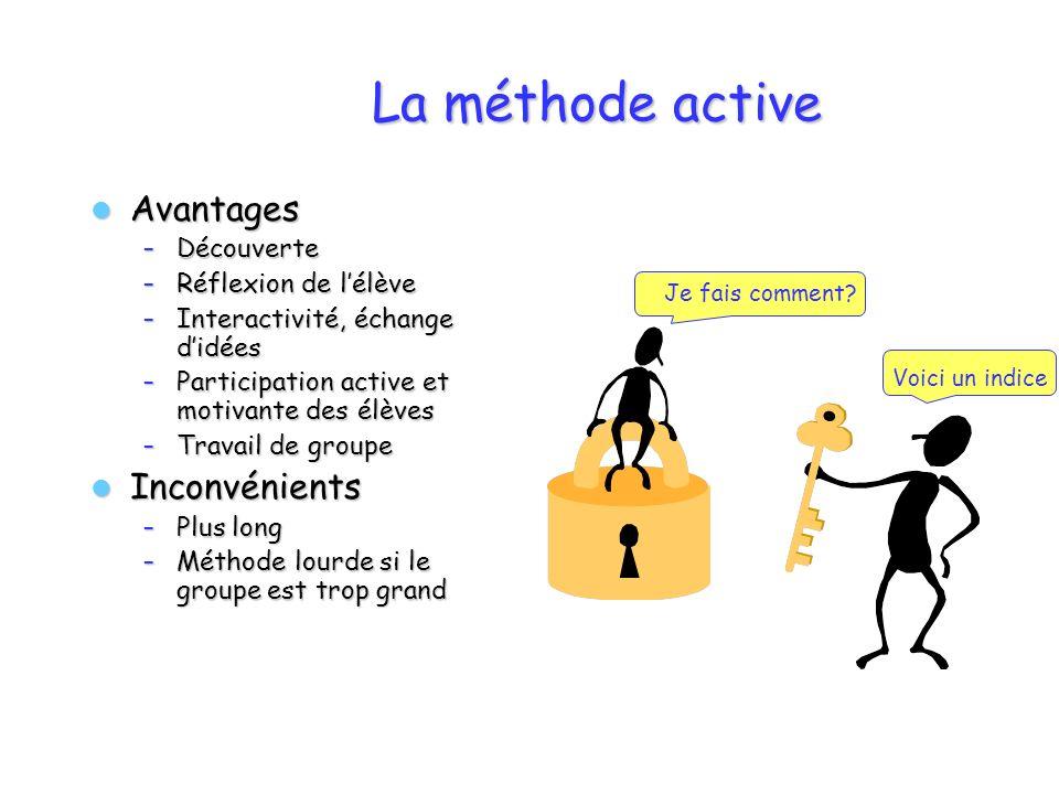 La méthode active Avantages Avantages – Découverte – Réflexion de lélève – Interactivité, échange didées – Participation active et motivante des élève