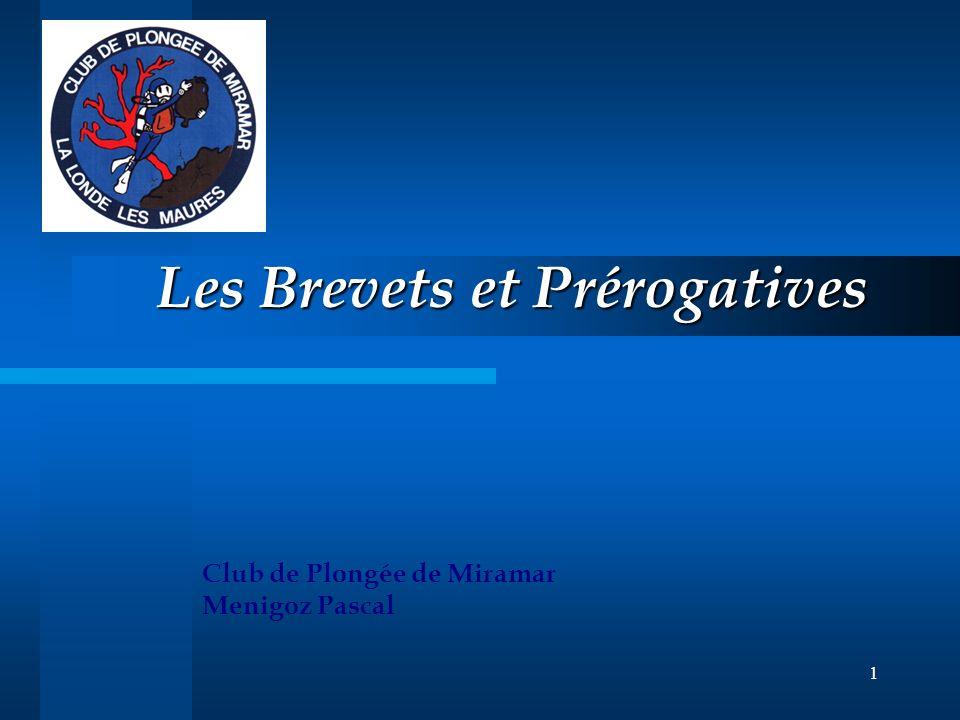 1 Les Brevets et Prérogatives Club de Plongée de Miramar Menigoz Pascal