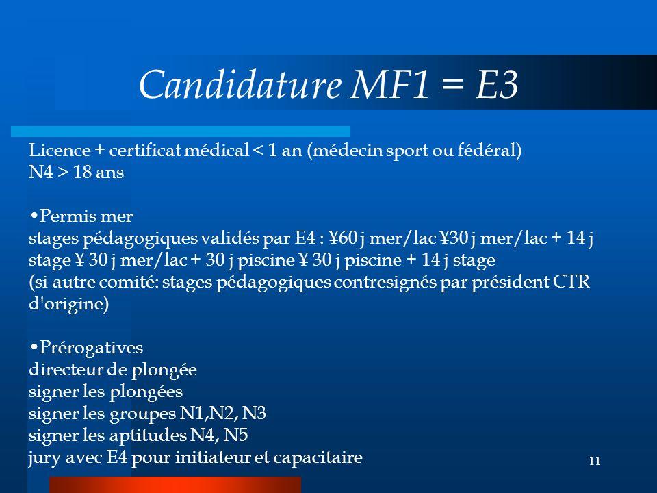 10 Candidature Initiateur E1 ou E2 si N4 Licence + certificat médical 18 ans + 15 plongées + CFPS présenté par son président = Prérogatives surveillan