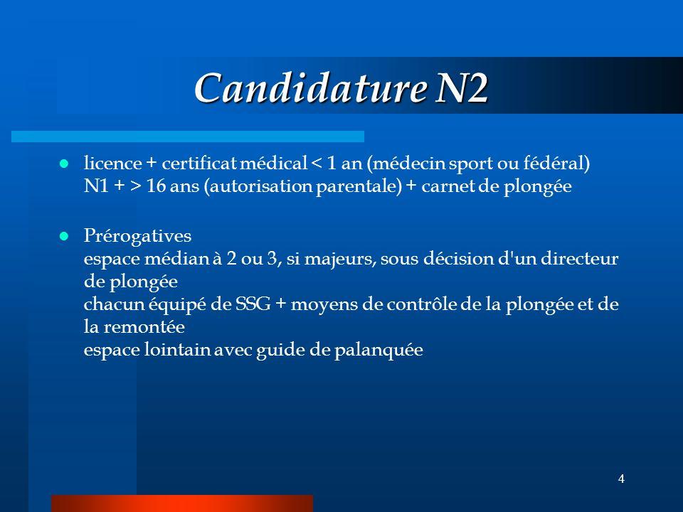 3 Candidature N1 licence + certificat médical 14 ans (autorisation parentale) dérogation > 12 ans (demande enfant + parents, avis favorable président