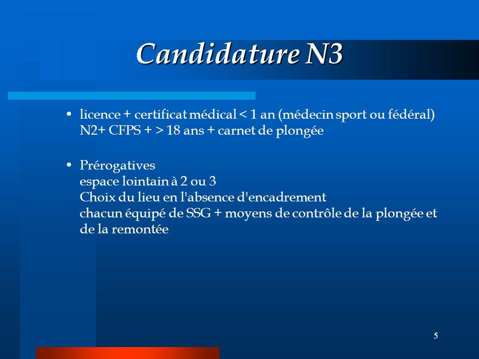 5 Candidature N3 licence + certificat médical 18 ans + carnet de plongée Prérogatives espace lointain à 2 ou 3 Choix du lieu en l absence d encadrement chacun équipé de SSG + moyens de contrôle de la plongée et de la remontée