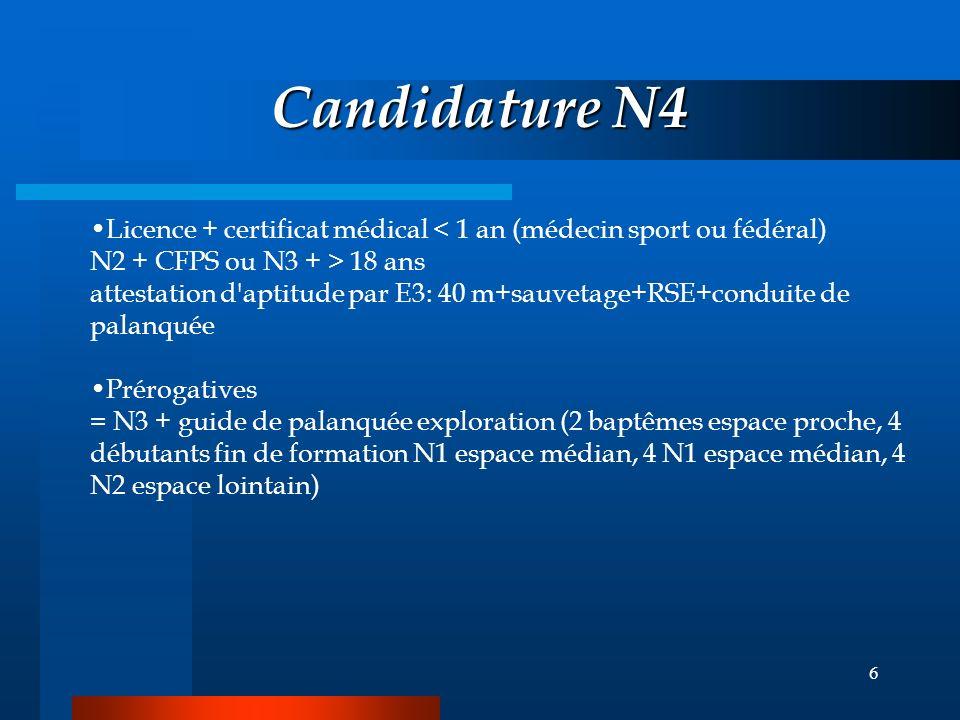 5 Candidature N3 licence + certificat médical 18 ans + carnet de plongée Prérogatives espace lointain à 2 ou 3 Choix du lieu en l'absence d'encadremen