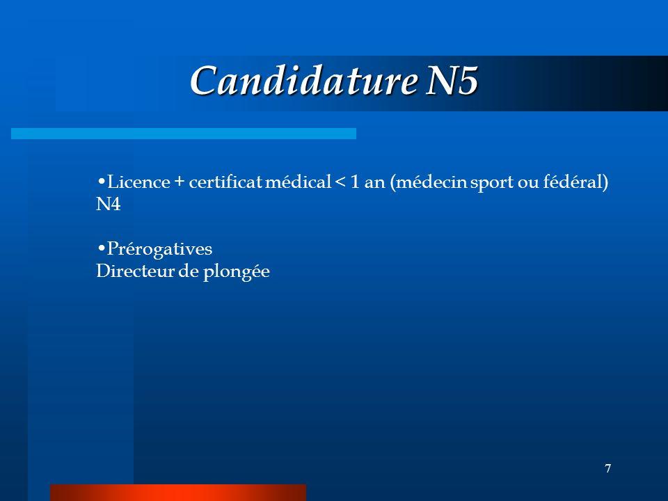 6 Candidature N4 Licence + certificat médical 18 ans attestation d'aptitude par E3: 40 m+sauvetage+RSE+conduite de palanquée Prérogatives = N3 + guide
