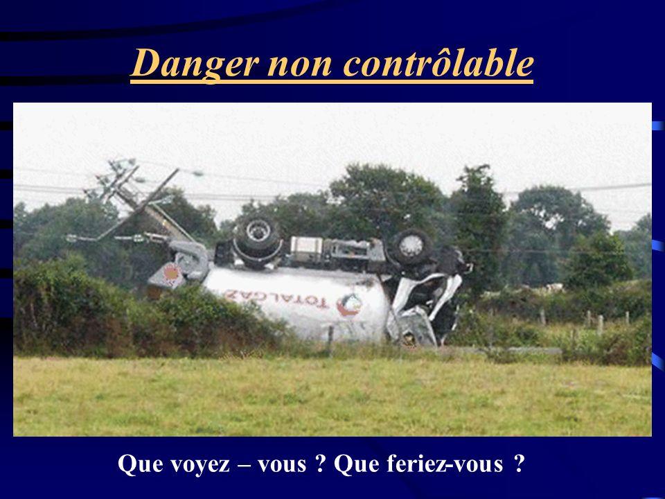 Danger non contrôlable Que voyez – vous ? Que feriez-vous ?