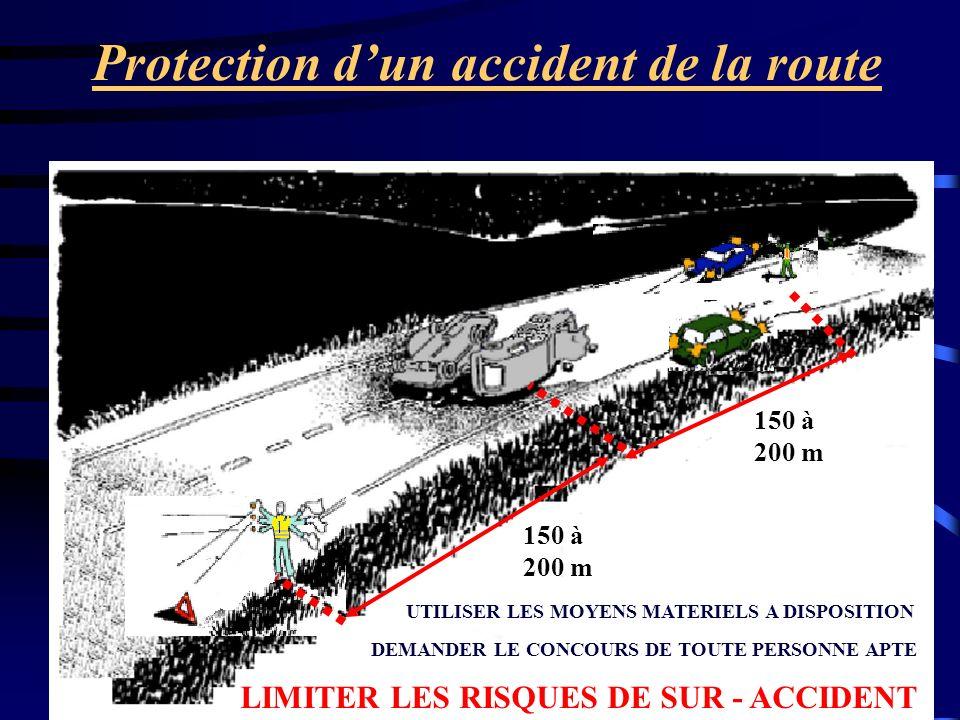 Protection dun accident de la route 150 à 200 m DEMANDER LE CONCOURS DE TOUTE PERSONNE APTE UTILISER LES MOYENS MATERIELS A DISPOSITION LIMITER LES RI