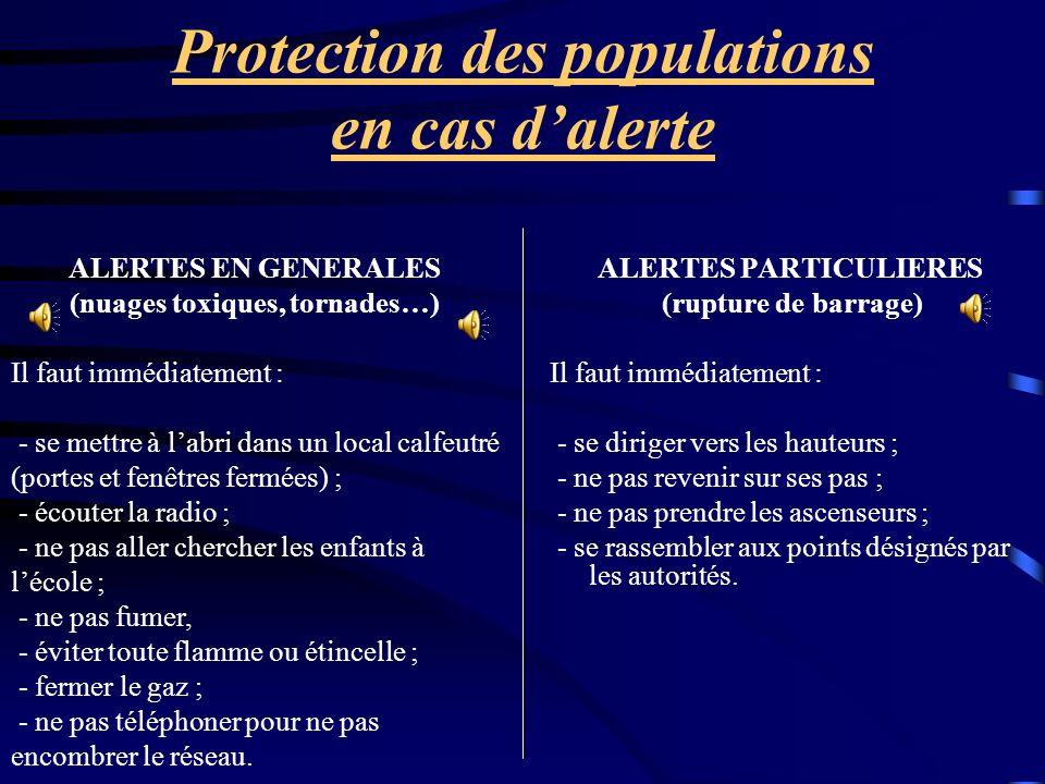 Protection des populations en cas dalerte ALERTES PARTICULIERES (rupture de barrage) Il faut immédiatement : - se diriger vers les hauteurs ; - ne pas