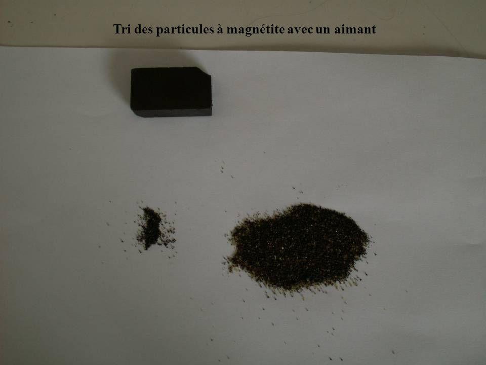 Tri des particules à magnétite avec un aimant