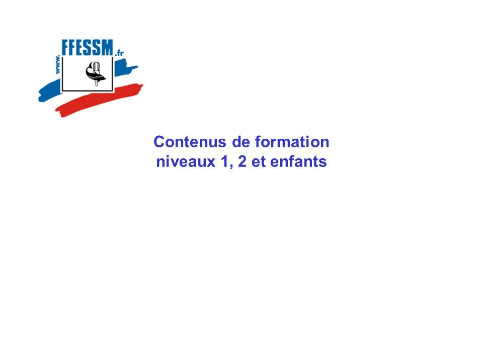 Plan Présentation des contenus de formation Contenus de formation niveau 1 Contenus de formation niveau 2 Plongée enfants
