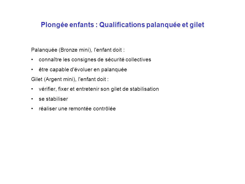 Plongée enfants : Qualifications palanquée et gilet Palanquée (Bronze mini), l'enfant doit : connaître les consignes de sécurité collectives être capa