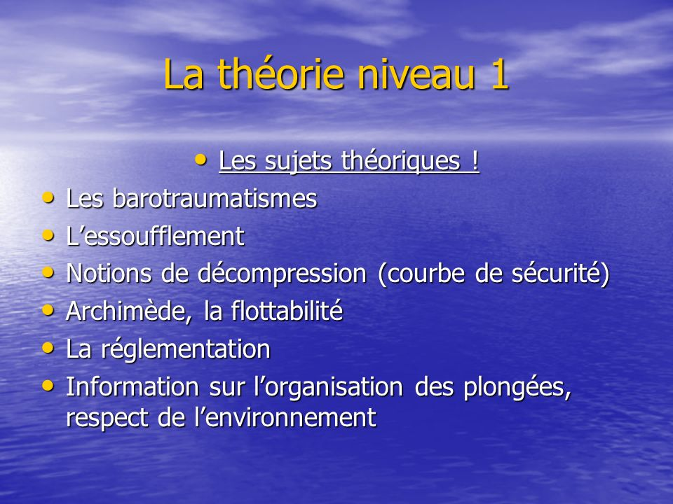 La théorie niveau 1 Les sujets théoriques . Les sujets théoriques .