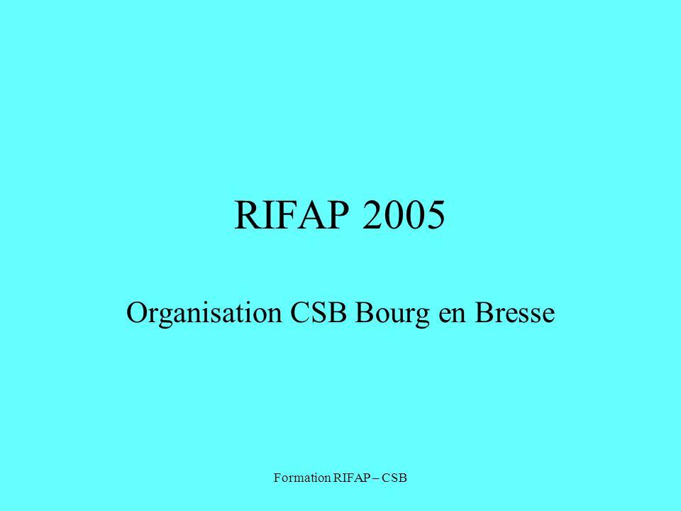 Formation RIFAP – CSB RIFAP 2005 Organisation CSB Bourg en Bresse