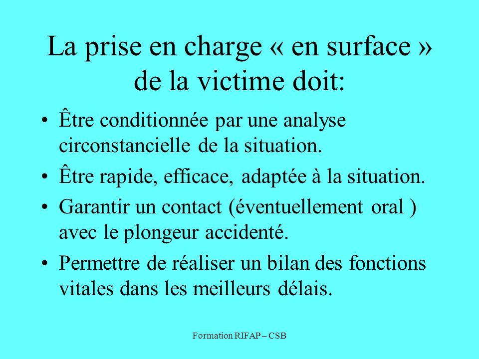 Formation RIFAP – CSB La prise en charge « en surface » de la victime doit: Être conditionnée par une analyse circonstancielle de la situation. Être r