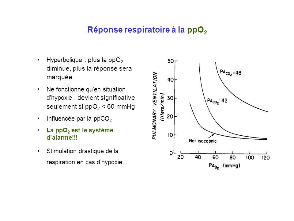 Réponse respiratoire à la ppO 2 Hyperbolique : plus la ppO 2 diminue, plus la réponse sera marquée Ne fonctionne quen situation dhypoxie : devient sig