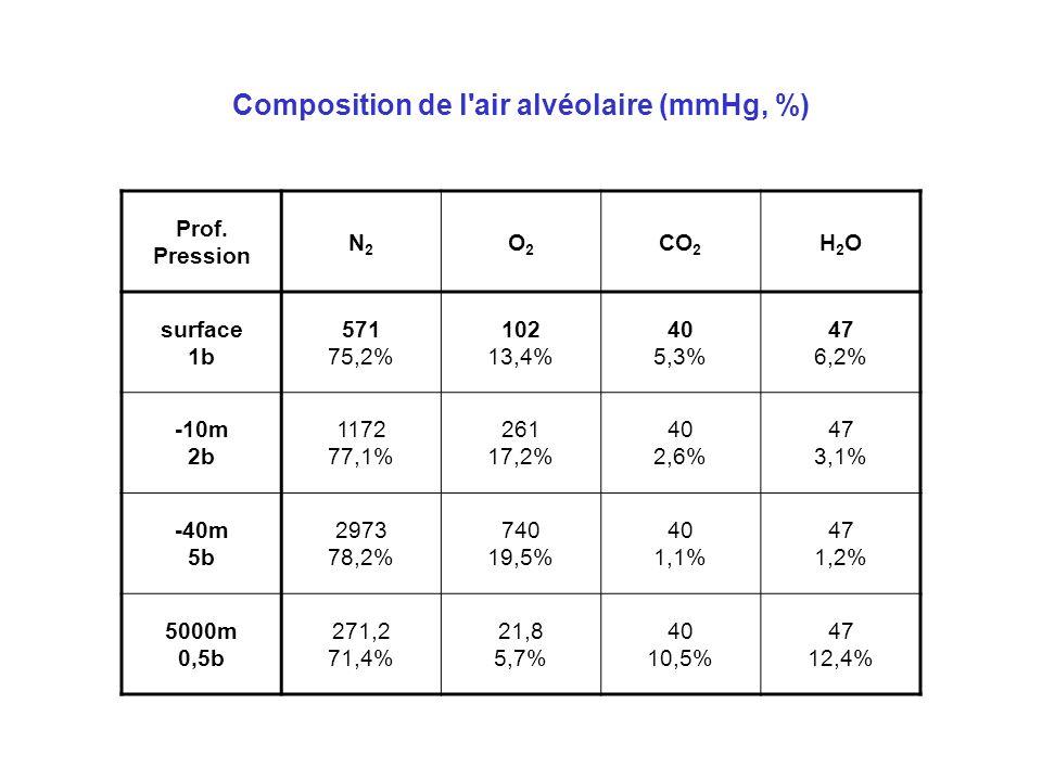 Composition de l'air alvéolaire (mmHg, %) Prof. Pression N2N2 O2O2 CO 2 H2OH2O surface 1b 571 75,2% 102 13,4% 40 5,3% 47 6,2% -10m 2b 1172 77,1% 261 1