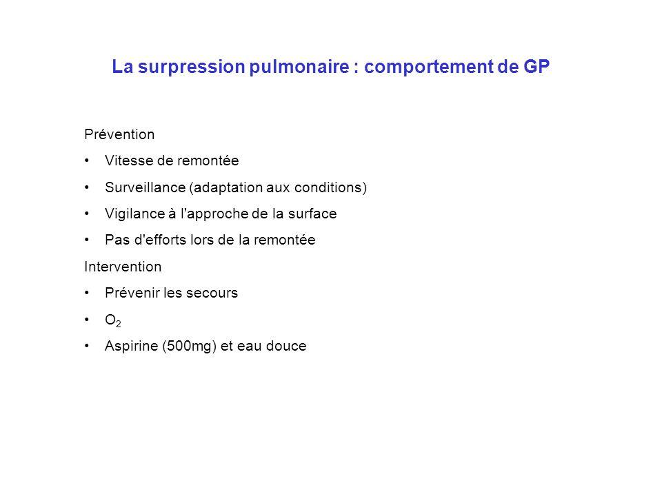 La surpression pulmonaire : comportement de GP Prévention Vitesse de remontée Surveillance (adaptation aux conditions) Vigilance à l'approche de la su