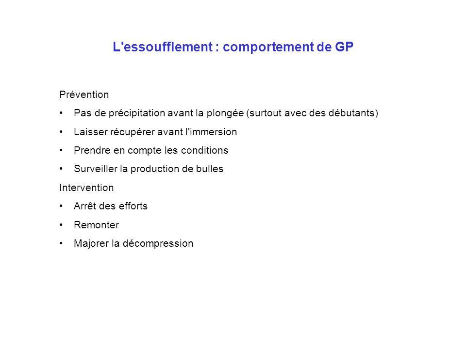 L'essoufflement : comportement de GP Prévention Pas de précipitation avant la plongée (surtout avec des débutants) Laisser récupérer avant l'immersion