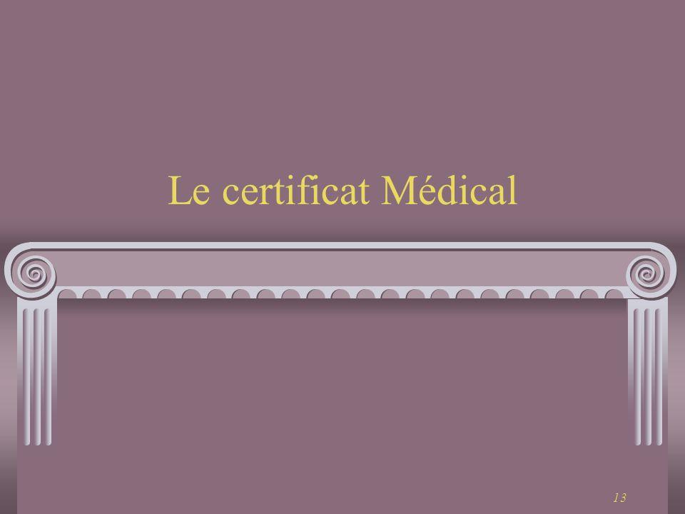 13 Le certificat Médical