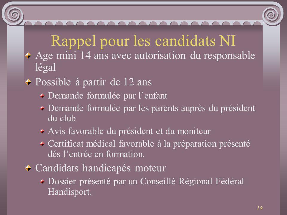 19 Rappel pour les candidats NI Age mini 14 ans avec autorisation du responsable légal Possible à partir de 12 ans Demande formulée par lenfant Demand