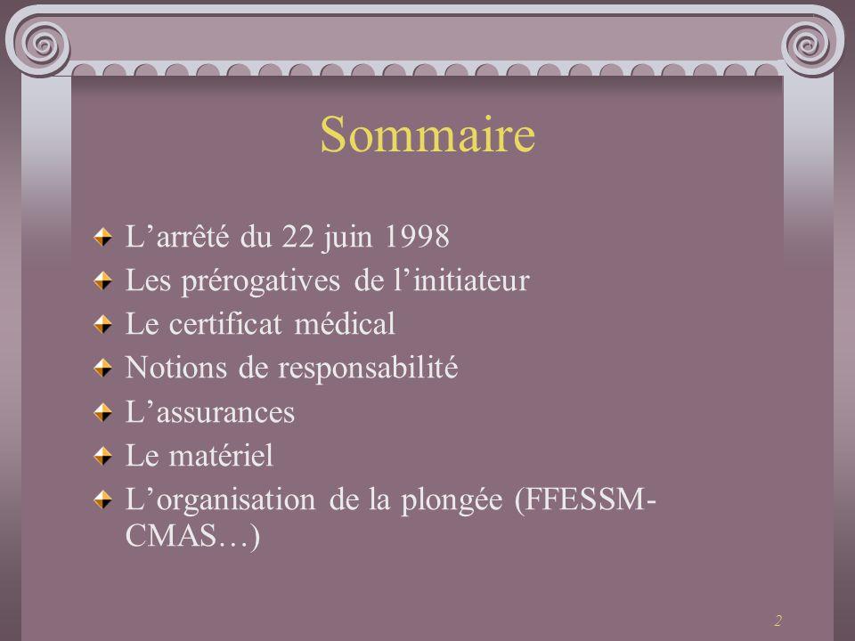 2 Sommaire Larrêté du 22 juin 1998 Les prérogatives de linitiateur Le certificat médical Notions de responsabilité Lassurances Le matériel Lorganisati