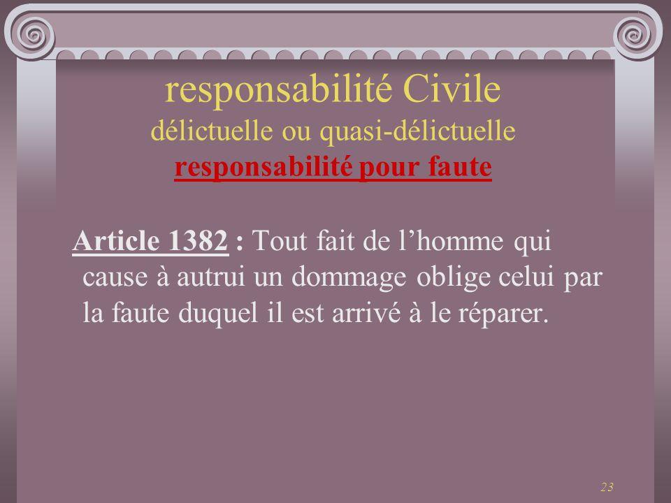 23 responsabilité Civile délictuelle ou quasi-délictuelle responsabilité pour faute Article 1382 : Tout fait de lhomme qui cause à autrui un dommage o
