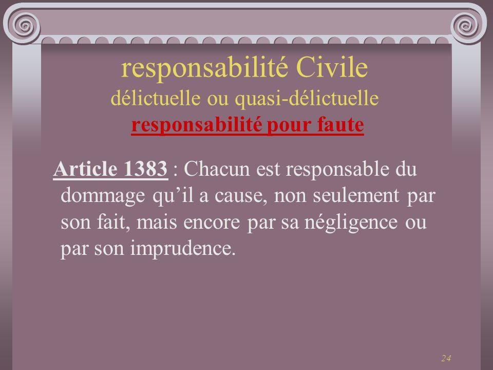 24 Article 1383 : Chacun est responsable du dommage quil a cause, non seulement par son fait, mais encore par sa négligence ou par son imprudence. res