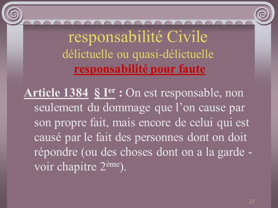 25 Article 1384 § I er : On est responsable, non seulement du dommage que lon cause par son propre fait, mais encore de celui qui est causé par le fai