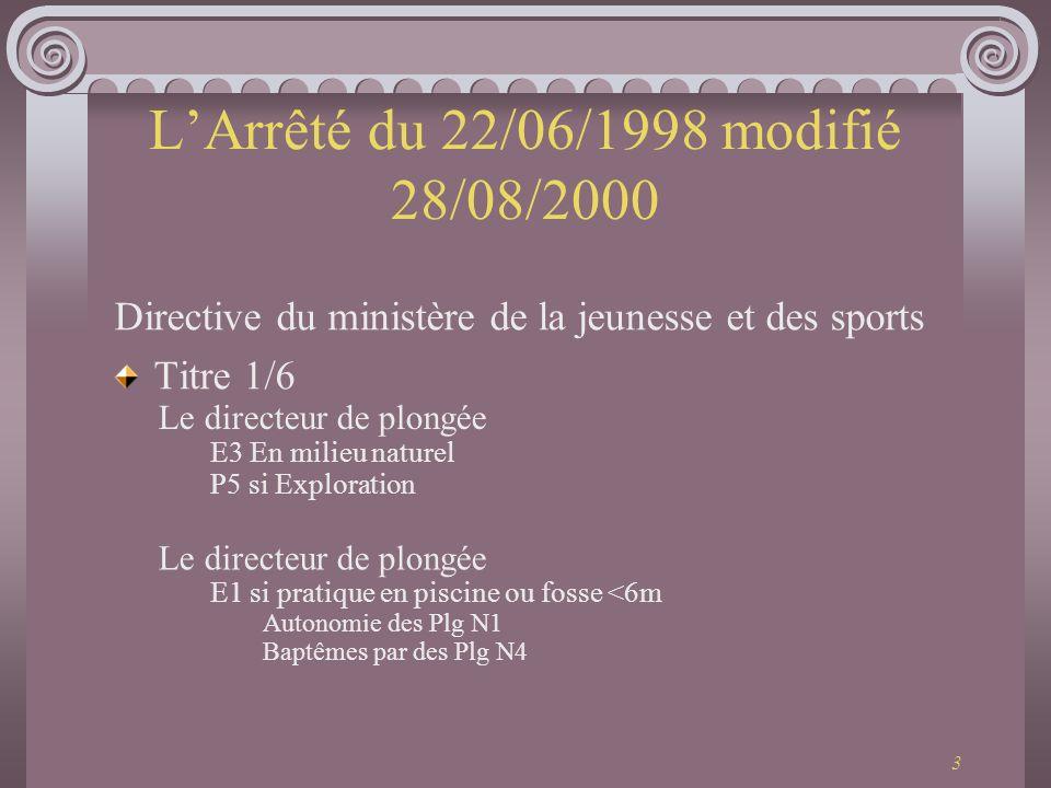 3 LArrêté du 22/06/1998 modifié 28/08/2000 Directive du ministère de la jeunesse et des sports Titre 1/6 Le directeur de plongée E3 En milieu naturel