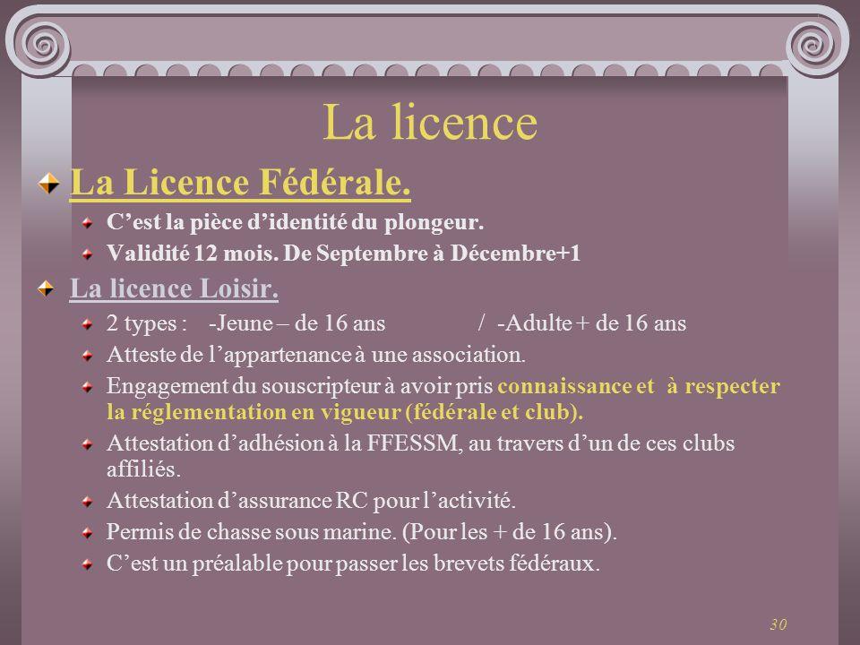 30 La licence La Licence Fédérale. Cest la pièce didentité du plongeur. Validité 12 mois. De Septembre à Décembre+1 La licence Loisir. 2 types : -Jeun
