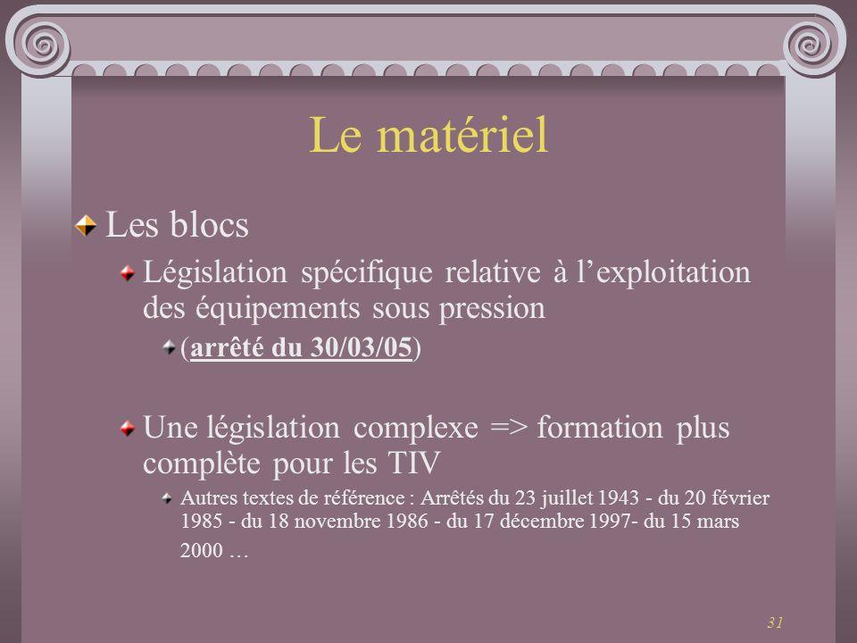 31 Le matériel Les blocs Législation spécifique relative à lexploitation des équipements sous pression (arrêté du 30/03/05) Une législation complexe =