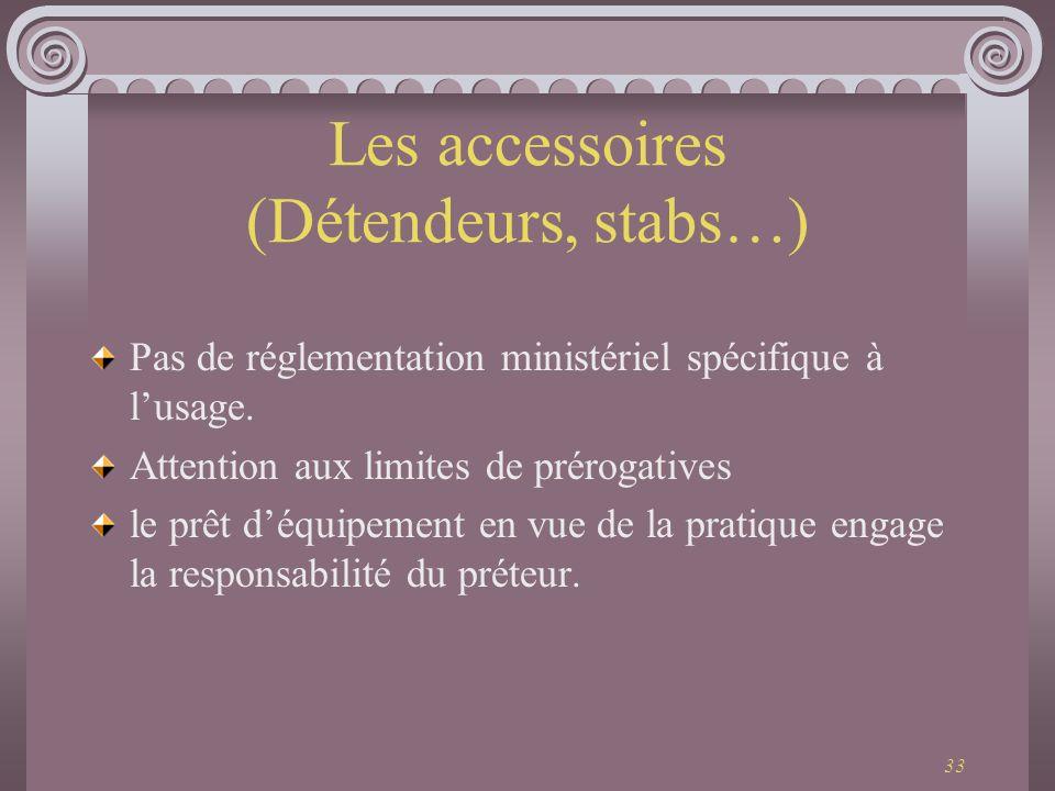 33 Les accessoires (Détendeurs, stabs…) Pas de réglementation ministériel spécifique à lusage. Attention aux limites de prérogatives le prêt déquipeme