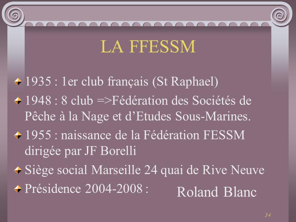 34 LA FFESSM 1935 : 1er club français (St Raphael) 1948 : 8 club =>Fédération des Sociétés de Pêche à la Nage et dEtudes Sous-Marines. 1955 : naissanc