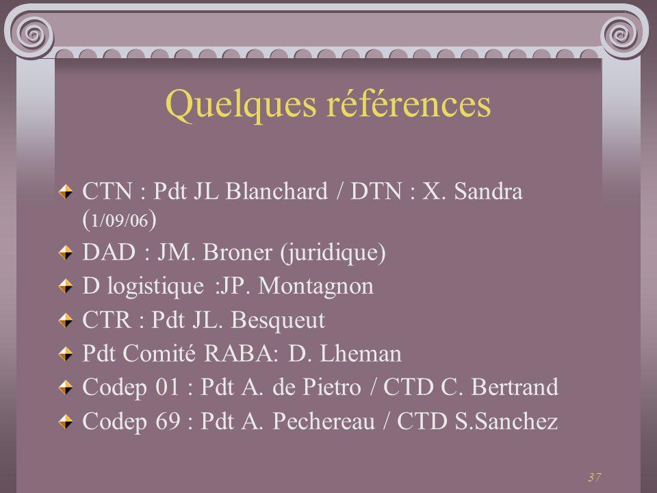 37 Quelques références CTN : Pdt JL Blanchard / DTN : X. Sandra ( 1/09/06 ) DAD : JM. Broner (juridique) D logistique :JP. Montagnon CTR : Pdt JL. Bes