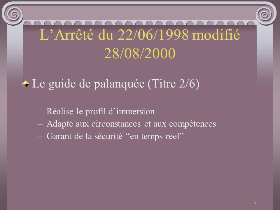 4 LArrêté du 22/06/1998 modifié 28/08/2000 Le guide de palanquée (Titre 2/6) –Réalise le profil dimmersion –Adapte aux circonstances et aux compétence
