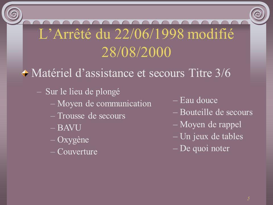 6 LArrêté du 22/06/1998 modifié 28/08/2000 Equipement des plongeur Titre 4/6 –Les plongeurs autonome en Milieu Nat.