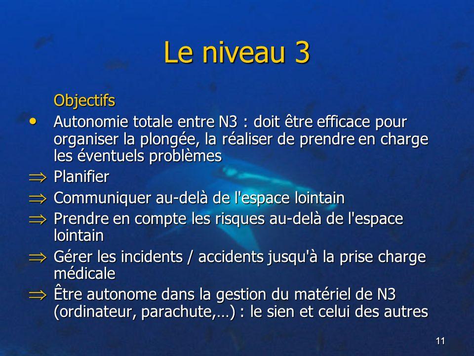 11 Le niveau 3 Objectifs Autonomie totale entre N3 : doit être efficace pour organiser la plongée, la réaliser de prendre en charge les éventuels prob