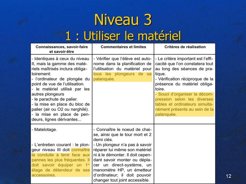 12 Niveau 3 1 : Utiliser le matériel