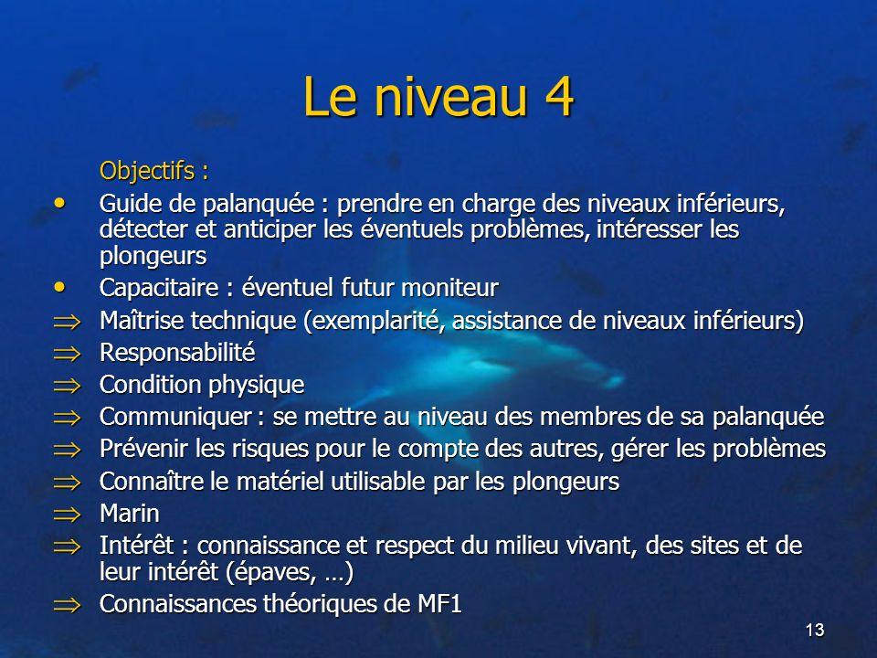 13 Le niveau 4 Objectifs : Guide de palanquée : prendre en charge des niveaux inférieurs, détecter et anticiper les éventuels problèmes, intéresser le
