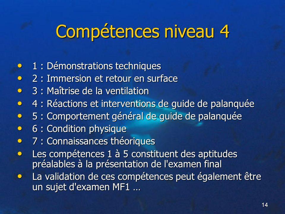 14 Compétences niveau 4 1 : Démonstrations techniques 1 : Démonstrations techniques 2 : Immersion et retour en surface 2 : Immersion et retour en surf