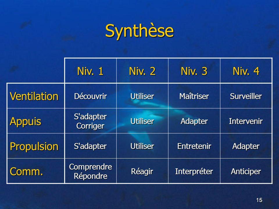 15 Synthèse Niv. 1 Niv. 2 Niv. 3 Niv. 4 Ventilation Appuis Propulsion Comm. DécouvrirUtiliserMaîtriserSurveiller S'adapter Corriger UtiliserAdapterInt