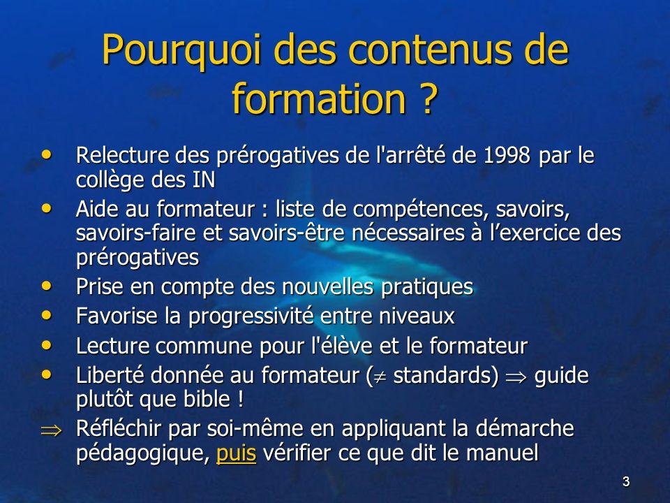 3 Pourquoi des contenus de formation ? Relecture des prérogatives de l'arrêté de 1998 par le collège des IN Relecture des prérogatives de l'arrêté de