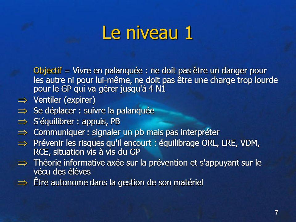 7 Le niveau 1 Objectif = Vivre en palanquée : ne doit pas être un danger pour les autre ni pour lui-même, ne doit pas être une charge trop lourde pour