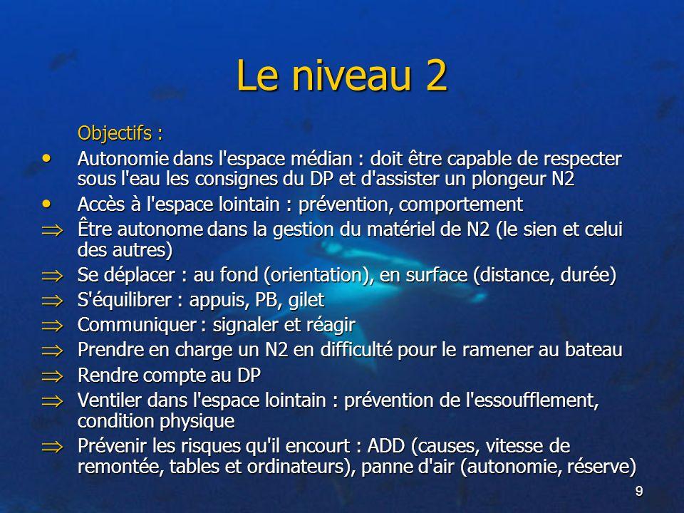 9 Le niveau 2 Objectifs : Autonomie dans l'espace médian : doit être capable de respecter sous l'eau les consignes du DP et d'assister un plongeur N2