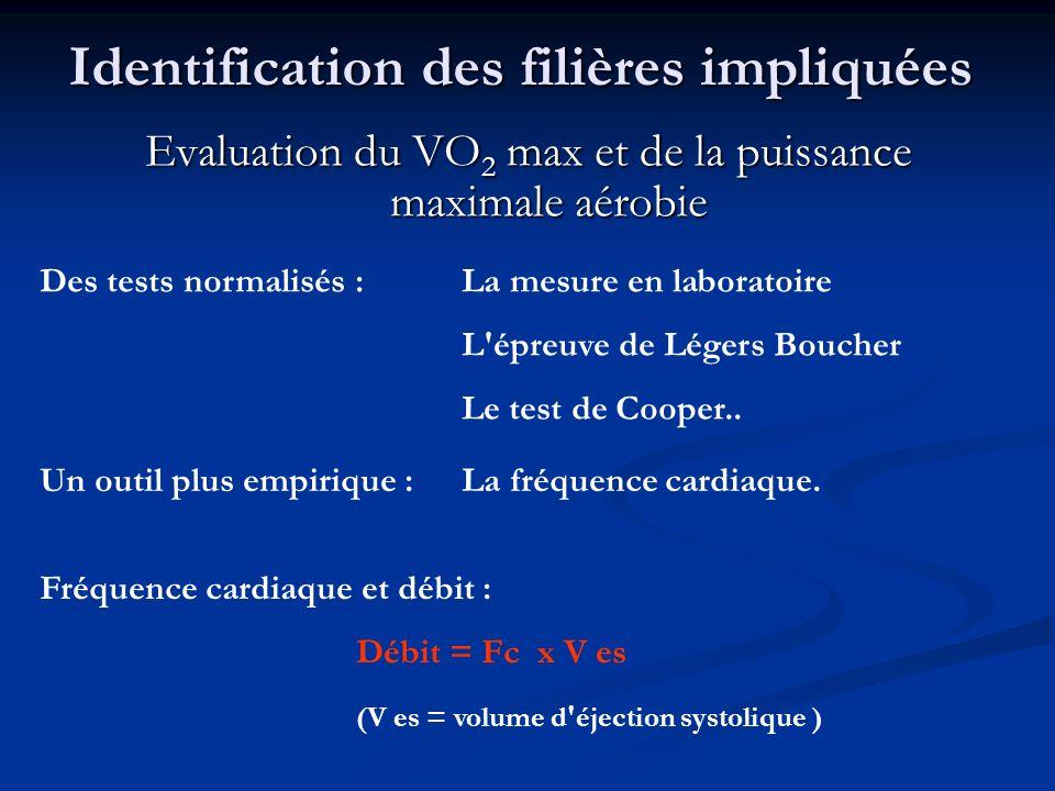 Identification des filières impliquées Evaluation du VO 2 max et de la puissance maximale aérobie Des tests normalisés : La mesure en laboratoire L'ép