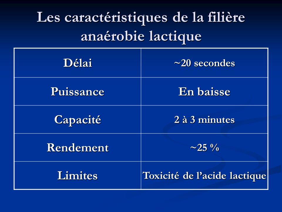 Les caractéristiques de la filière anaérobie lactique Délai ~20 secondes Puissance En baisse Capacité 2 à 3 minutes Rendement ~25 % Limites Toxicité d