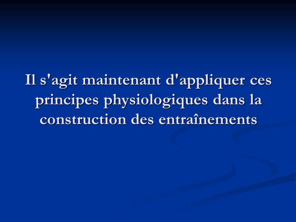 Il s'agit maintenant d'appliquer ces principes physiologiques dans la construction des entraînements