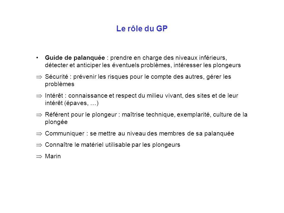 Le rôle du GP Guide de palanquée : prendre en charge des niveaux inférieurs, détecter et anticiper les éventuels problèmes, intéresser les plongeurs S